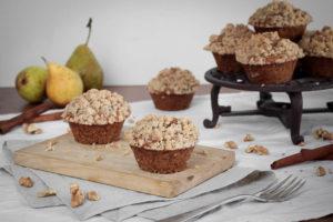 Hruškové muffiny s ořechovou drobenkou